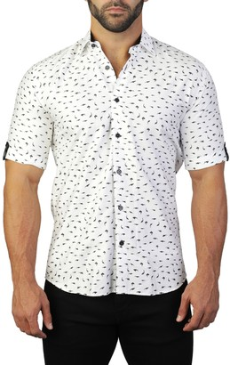 Maceoo Galileo Short Sleeve Shark Print Tailored Fit Dress Shirt