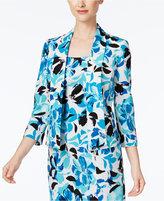 Kasper Floral-Print Shawl-Collar Blazer