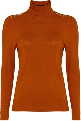 Wallis Rust Stud Zip Polo Neck Jumper