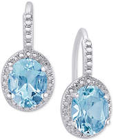 Macy's Blue Topaz (6-3/8 ct. t.w.) and Diamond Accent Drop Earrings in Sterling Silver
