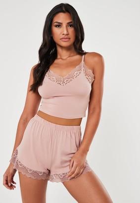 Missguided Blush Lace Trim Cami Pyjama Set