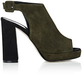 Barneys New York Women's Colorblocked Halter-Strap Platform Sandals-DARK GREEN