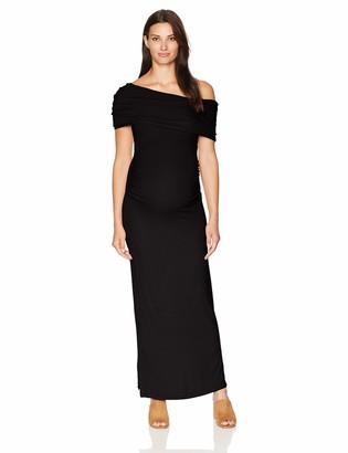 Motherhood Maternity Women's Maternity Off The Shoulder Rib Knit Maxi Dress