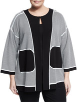 Misook 3/4-Sleeve Square-Print Jacket, Black/White, Plus Size