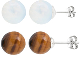 Opal & Tiger's Eye Ball Stud Earrings Set