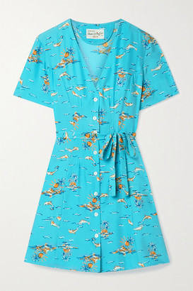 HVN Rosemary Belted Printed Silk-satin Mini Dress - Turquoise