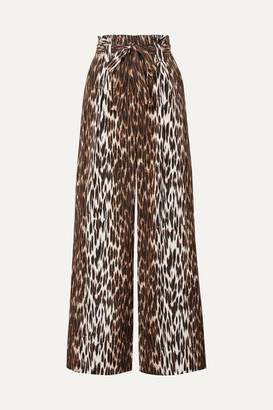 L'Agence Bobby Belted Leopard-print Silk-crepe Wide-leg Pants - Leopard print