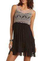 Charlotte Russe Lace-Top Chiffon Fringe Dress