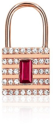 Ef Collection 14ct Rose Gold Lock Earring (single)