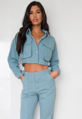 Missguided Sage Co Ord Buckle Detail Cropped Denim Jacket