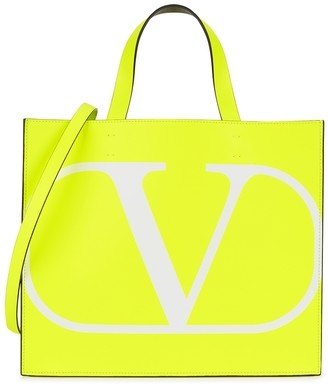 Valentino VLogo neon yellow leather tote