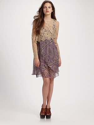 Zimmermann Conversation Paisley Lace Waterfall Dress