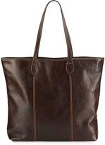 Neiman Marcus Slim Large Leather Tote Bag, Tmoro