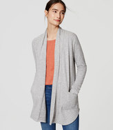 LOFT Speckled Shirttail Open Cardigan