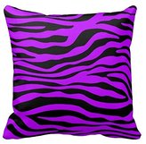 Little-Dreams Bright Purple and Black Zebra Stripe Print Throw Pillow Covers Case Zippered Animal Style Home Sofa 18X18 Inch Two Sides