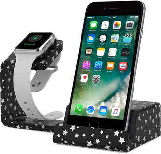 Posh Tech Dual 2-in-1 Charging Stand for Apple Watch and Smartphones - Black Star