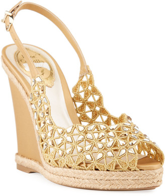 Rene Caovilla 115mm Laser-Cut Wedge Sandals