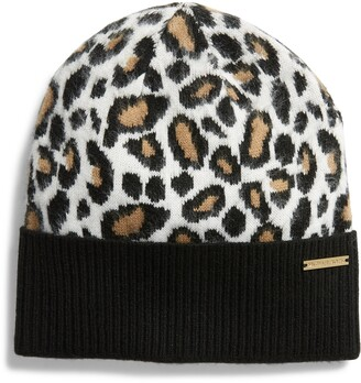 MICHAEL Michael Kors Leopard Pattern Knit Beanie