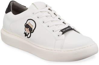 Karl Lagerfeld Paris Head Low-Top Leather Sneakers