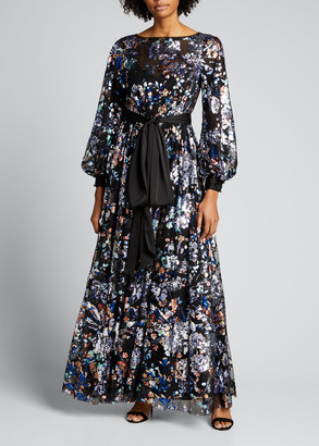 Badgley Mischka Sequin Embellished Blouson-Sleeve Floral Tulle Gown