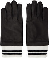 MAISON KITSUNÉ Black Leather Ribbed Gloves