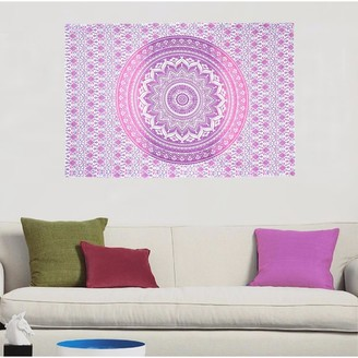 Oussum Pink Boho Mandala Printed Cotton Wall Hanging Decor Poster Tapestry Throw Bedspread - 30x45 inches