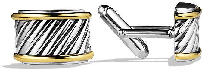 David Yurman Cable Cigar Band Cufflinks with Gold