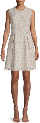 Rebecca Taylor Pleated Tweed Cotton-Blend Mini Dress