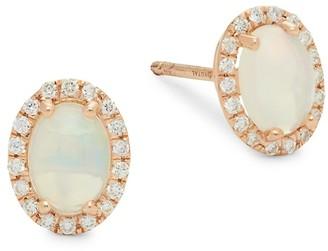 Saks Fifth Avenue 14K Rose Gold, Opal & Diamond Stud Earrings