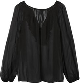 Banana Republic x Olivia Palermo | Pleated Ruffle-Back Top