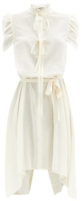 Ann Demeulemeester Ruffled-neck Cotton-voile Shirt Dress - White