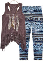 Knitworks Knit Works 3-pc. Faux-Suede Fringe Tank and Leggings Set - Girls 7-16 and Plus