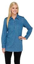 As Is Denim & Co. Regular Stretch Denim Long Sleeve Shirt
