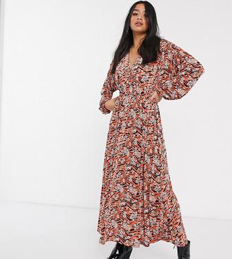ASOS DESIGN Petite long sleeve maxi dress in black and orange animal floral print