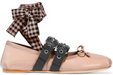 Miu Miu Lace-up Patent-leather Ballet Flats - Blush