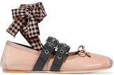 Miu Miu Lace-up Patent-leather Ballet Flats - Blush