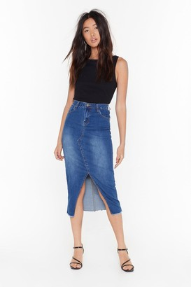 Nasty Gal Womens Split It Out Denim Midi Skirt - blue - 6