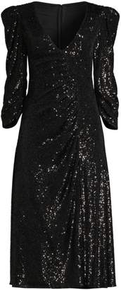 Sachin + Babi Kayla Sequin Ruched V-Neck Dress