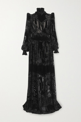 Balmain Shirred Devore-chiffon Gown - Black