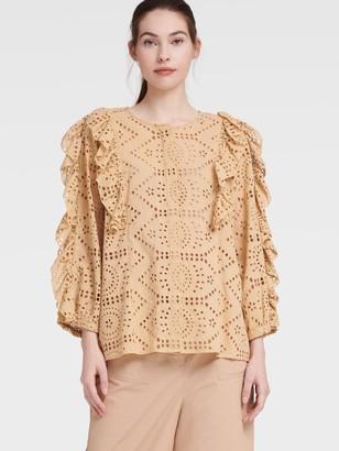 DKNY Women's Three Quarter Length Sleeve Ruffle Blouse - Tea - Size XS