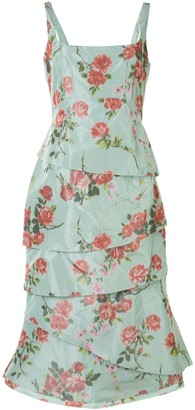 Brock Collection Rose-Print Tiered Dress