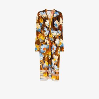 Fendi Floral Print Chenille Midi Dress