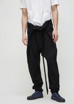 Issey Miyake black ribbed wrap pant