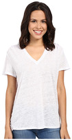 Heather Linen Shoulder Pleated Asymmetrical Tee