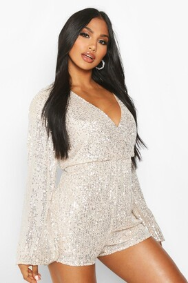 boohoo Blouson Sleeve Wrap Front Sequin Playsuit
