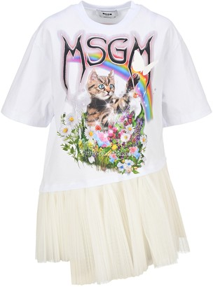 MSGM Gathered Tulle Detail Graphic Printed T-Shirt