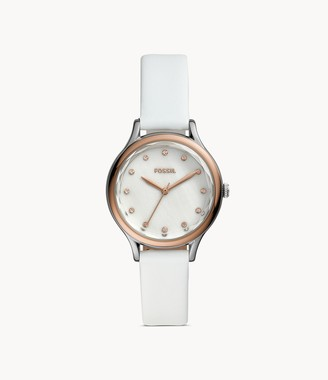 Fossil Laney Three-Hand White Leather Watch jewelry