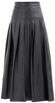 Emilia Wickstead Gretchen Pleated Faux-leather Midi Skirt - Black