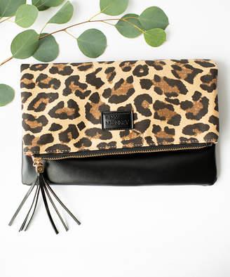 Funky Monkey Women's Clutches Leopard - Black & Leopard Fold-Over Clutch