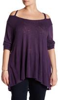 Bobeau Cold Shoulder Knit Tee (Plus Size)